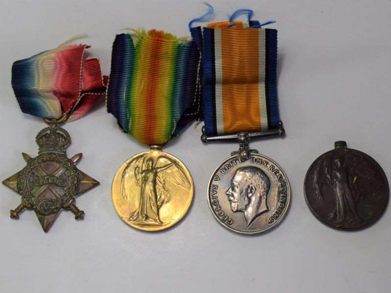 51) WW1 Medal Trio 13476 A-Sgt W.H.Saunders Kings Own Scottish Borderers