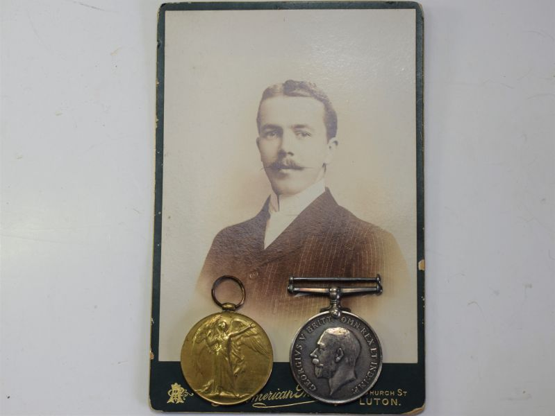 54) Full Size WW1 British Army Medal Pair 48348 CPL F.G.SMITH THE QUEENS REGT