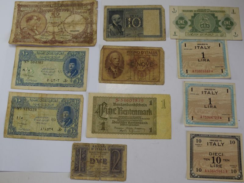 56) Group of 11 Original WW2 Military Bank Notes & Invasion Money