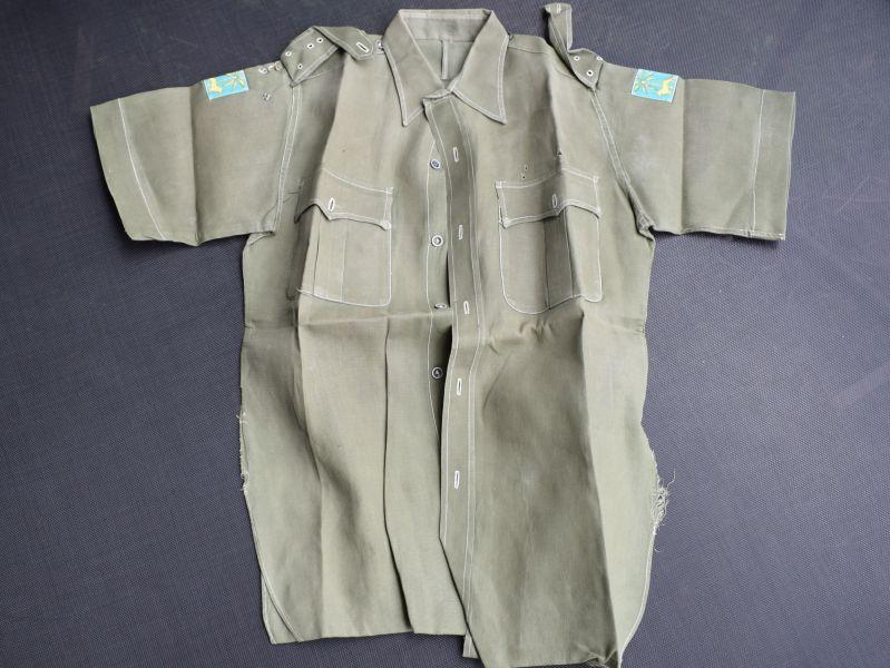 135) Post War JG Aertex Sleeveless Shirt with Singapore District Insignia