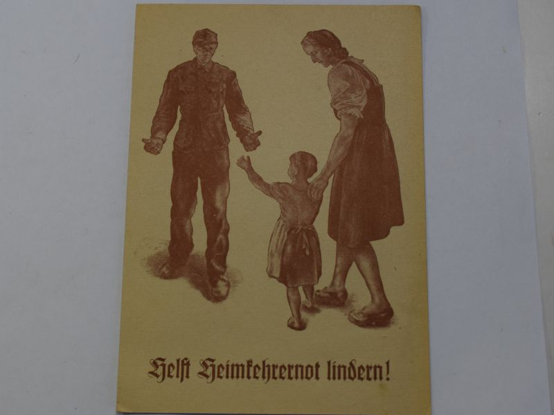 159) Original Early Post WW2 Postcard to Save Money For Returning Soldiers