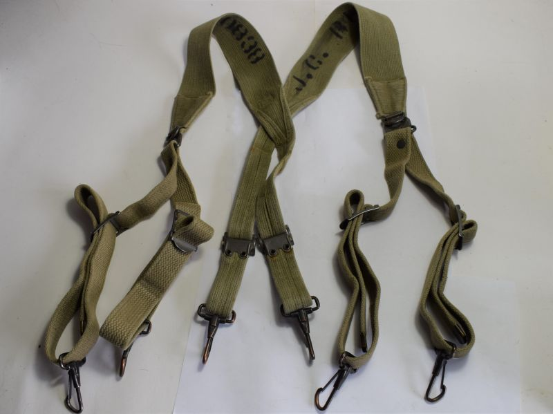 GD4) Original WW2 US Army M-1936 Pattern Web Suspenders With ID