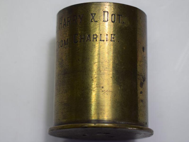 6) Small Cut Down WW1 German Pom Pom Shell With Inscription