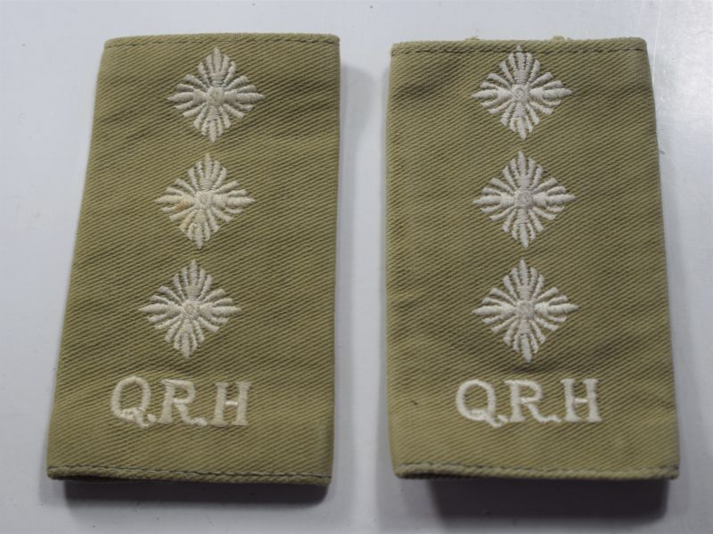 66) Post WW2 Queens Royal Hussars Captains Rank Slides