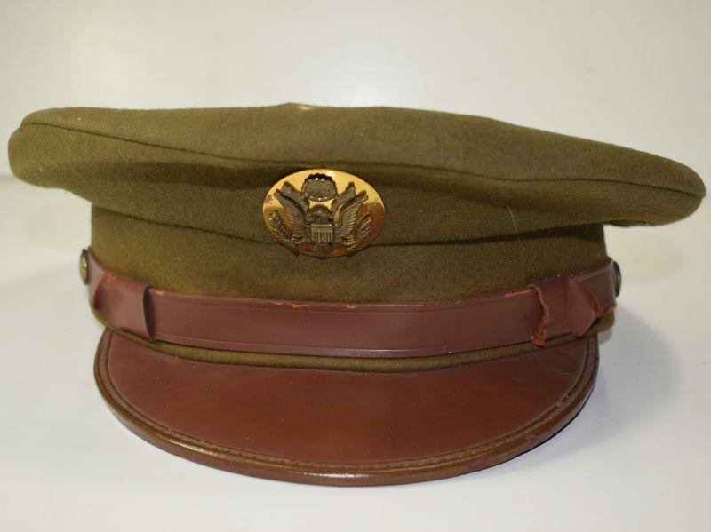68) Original WW2 US Army Enlisted Mans Fur Felt Peaked Cap & Badge