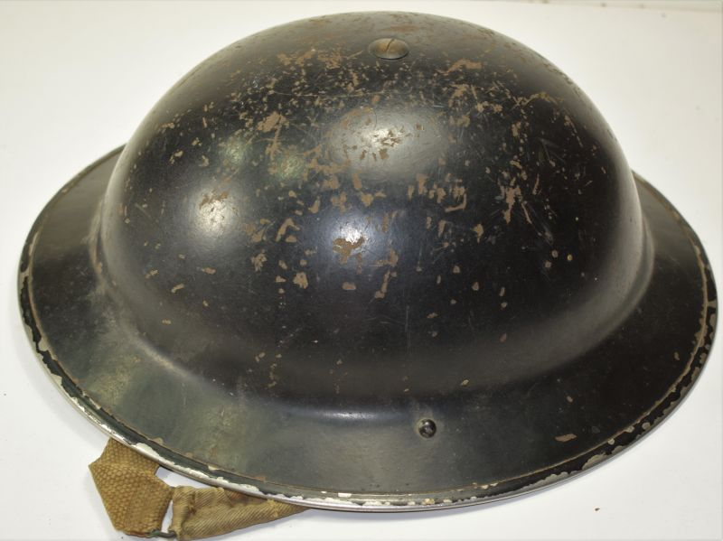 78) Excellent Original WW2 British Home Front Helmet in Black & Liner 1939