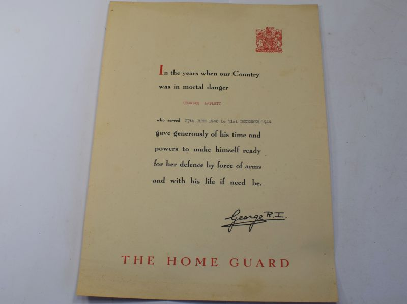 105) Original WW2 Home Guard Service Certificate to Charles Laslett