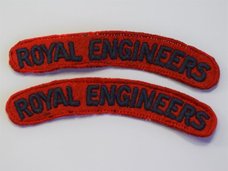 106) Original WW2 Uniform Removed Royal Engineers Shoulder Titles