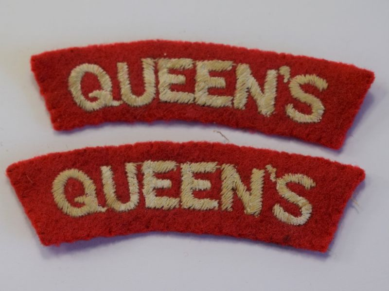 107) Original WW2 Queens Regiment Cloth Shoulder Title Pair