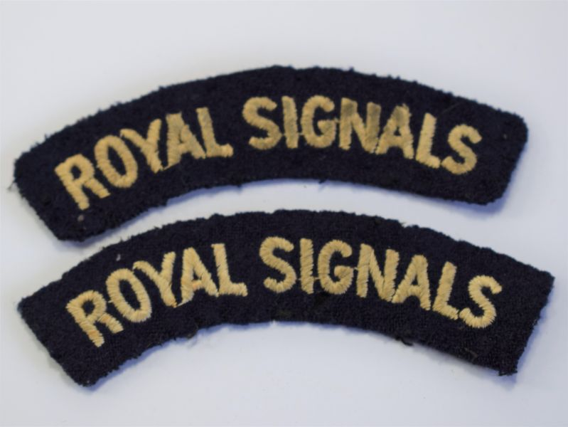 111) Original WW2 Royal Signals Uniform Removed Cloth Shoulder Titles