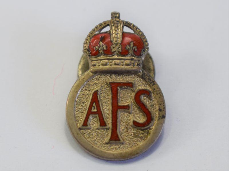 115) Good Original Early WW2 AFS Lapel Badge