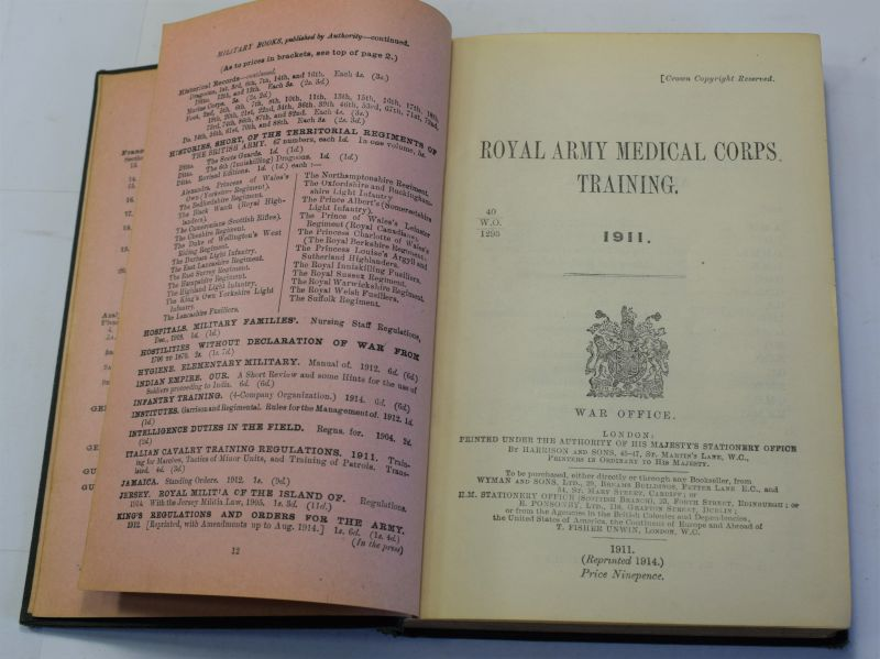 83) Excellent Original WW1 RAMC Training Manual Dated 1914