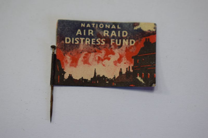 126) Original WW2 National Air Raid Distress Fund Paper Pin Flag Badge