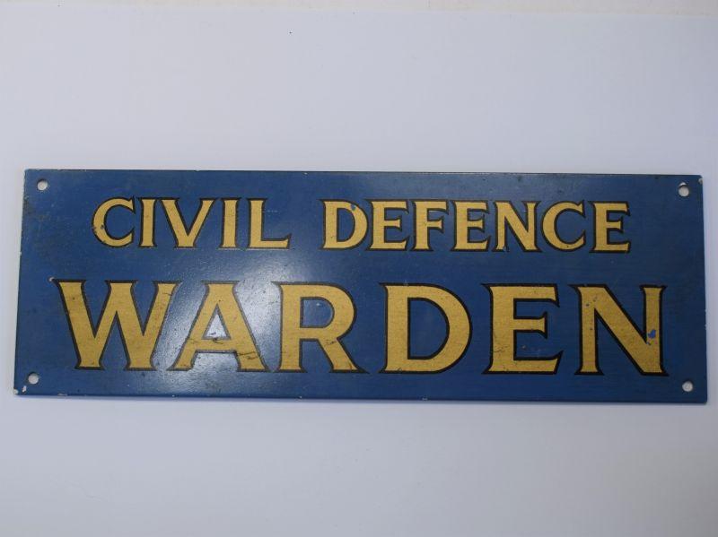 127) Good Original WW2 Era Civil Defence Warden House Sign, Door Sign