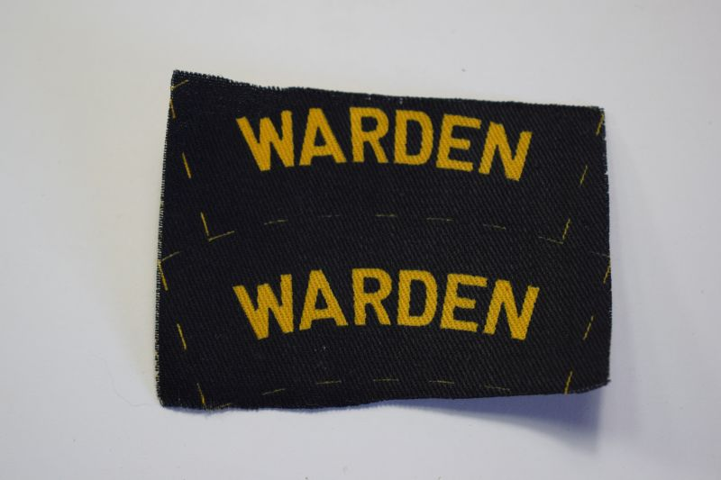 128) Original WW2 Air Raid Warden Printed Shoulder Title Pair