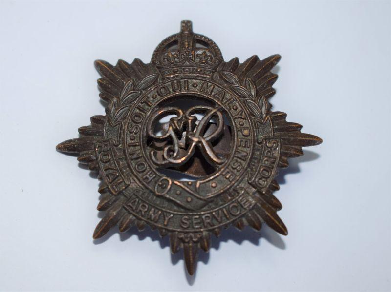 161) Excellent WW2 RASC Officers Bronze Cap Badge