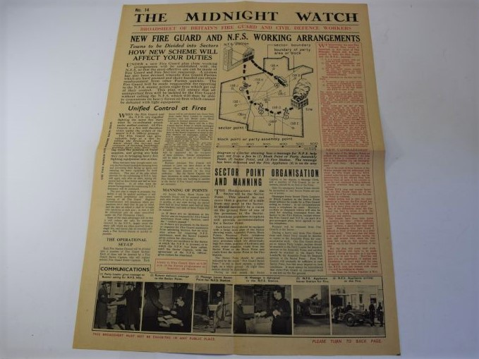 148) Original WW2 Fire Guard & CD Workers Broadsheet The Midnight Watch No14