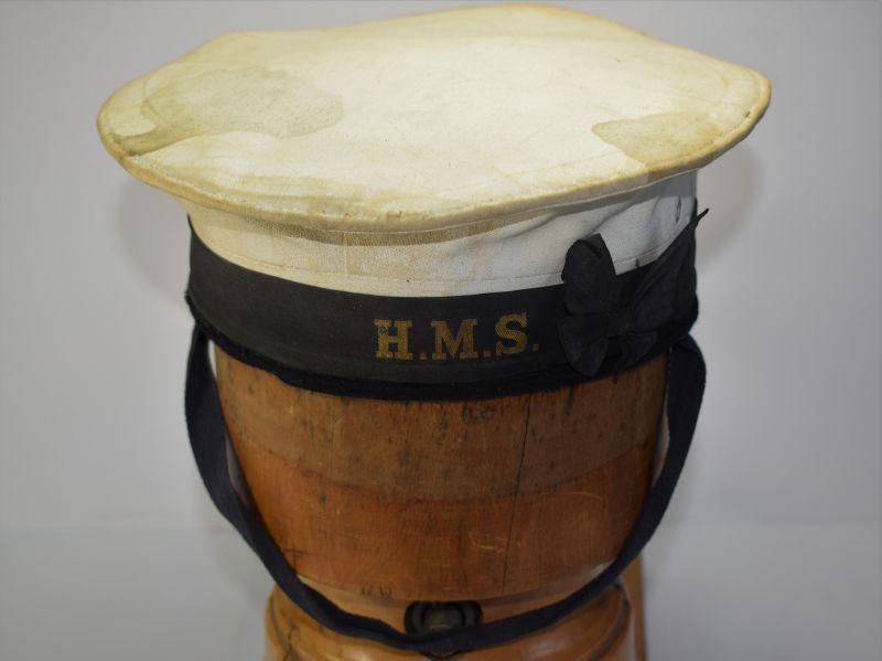 64) Original WW2 Royal Navy Ratings White Top Cap & HMS Cap Band
