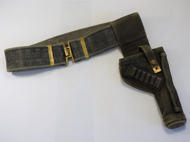 WW2 British Army Tank Mans Holster & Web Belt in Black 1942