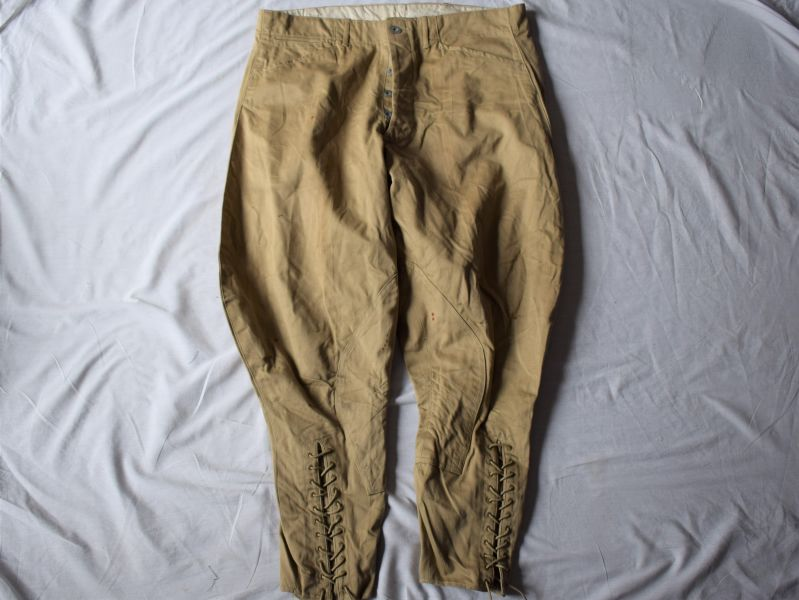 5) Original 1930s-WW2 US Army Khaki Cotton Breeches