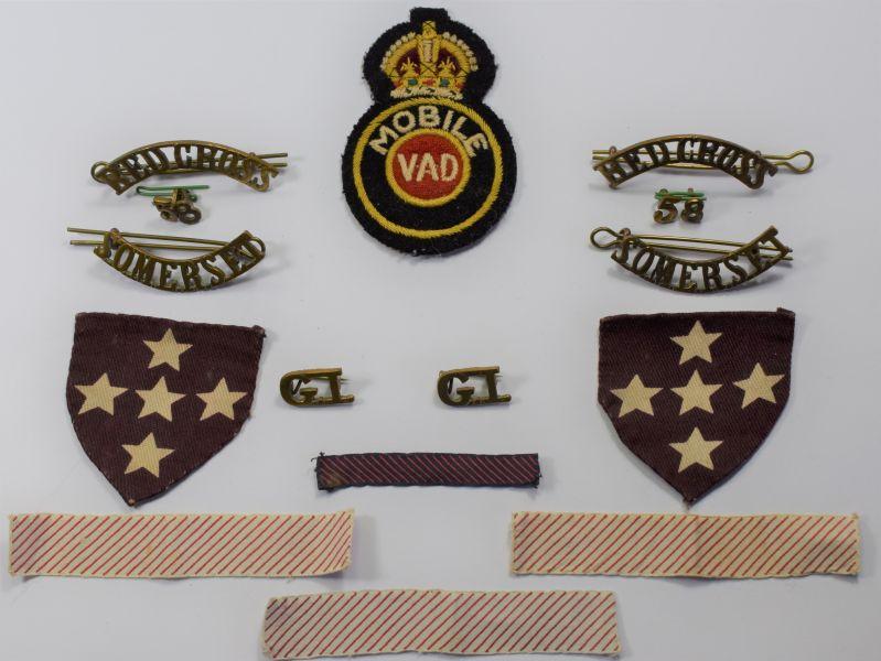 87) Original WW2 BRCS VAD Mobile Uniform Removed Badge Set Somerset 58.