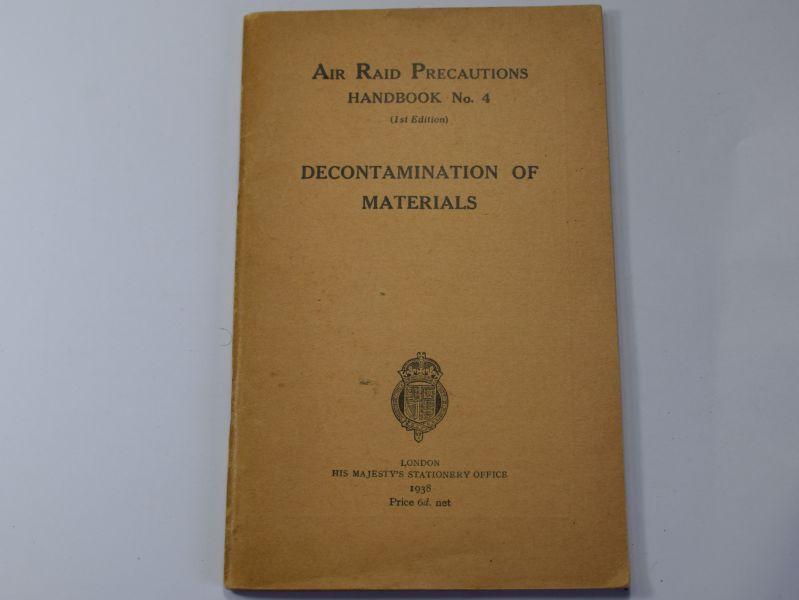 109) Original WW2 ARP Handbook No4 Decontamination of Materials 1938