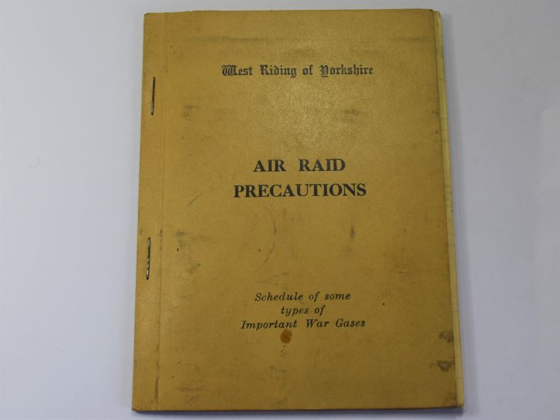111) WW2 West Riding of Yorkshire ARP Schedule of Some Types of War Gasses 1938