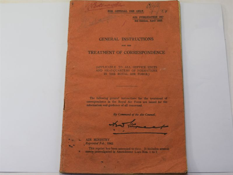 143) Original WW2 RAF Pamphlet General Instructions for the Treatment of Correspondence
