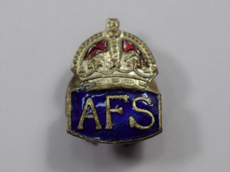 27) Nice Small WW2 Enamelled Lapel Badge to The AFS