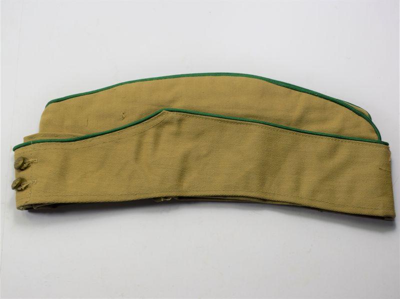 51) Excellent Unidentified WW2 British Army Khaki Drill FS Cap with Green Trim
