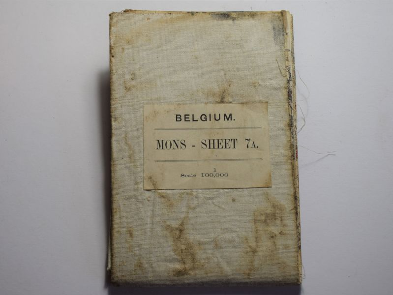 45) Tatty Well Used WW1 British Military Map of Mons Dated 1912