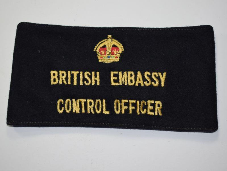 131) Interesting Original 1930s-WW2 British Embassy Control Officer Armband