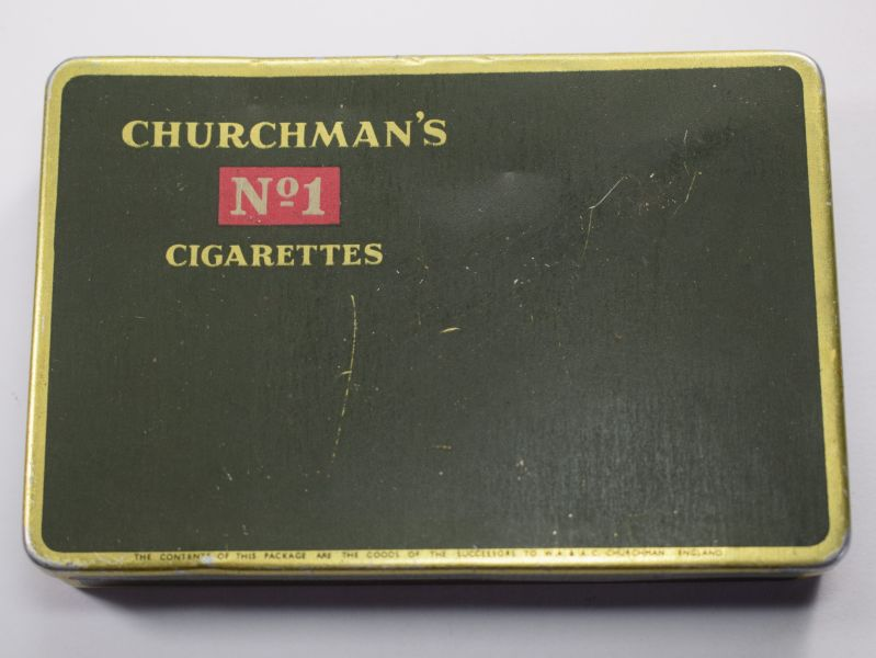 74) WW2 Era Churchman's No1 Cigarettes Tin Duty Free, HM Ships Only