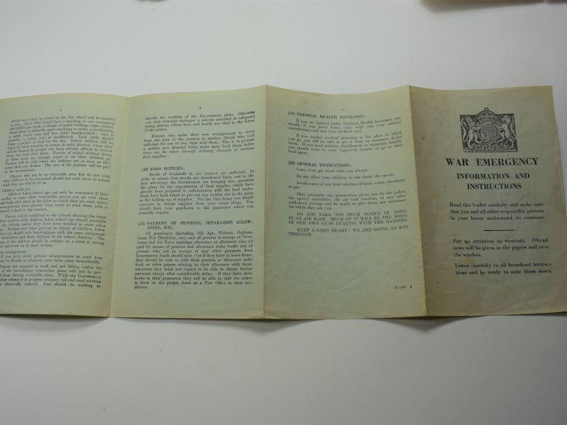 82) Original Early WW2 War Emergency Information & Instructions leaflet