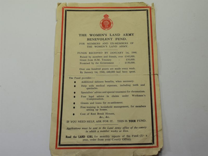 83) Early Post WW2 Womans Land Army Leaflet