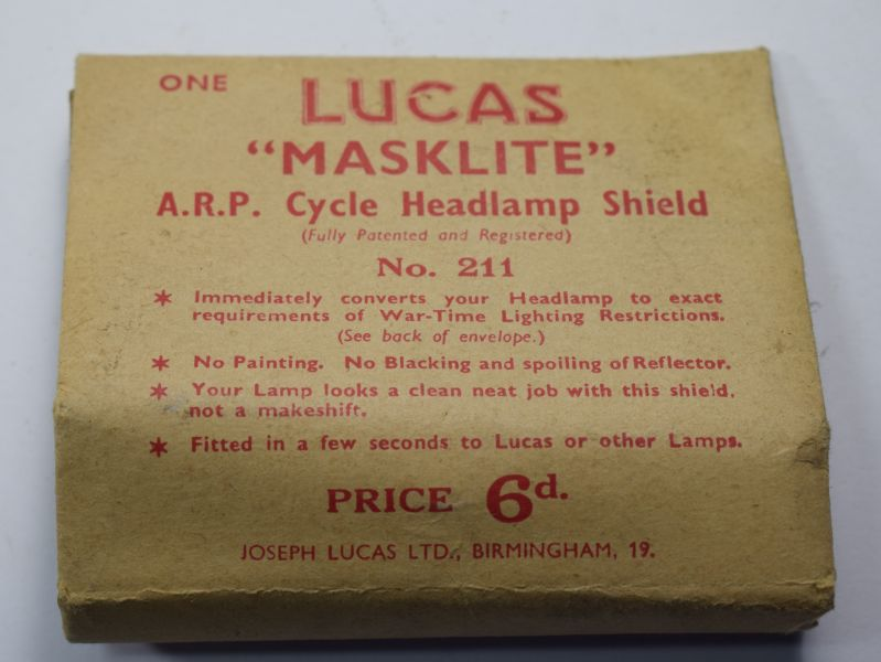 96) Excellent Original Un-Used Lucas Masklite ARP Cycle Headlamp Shield