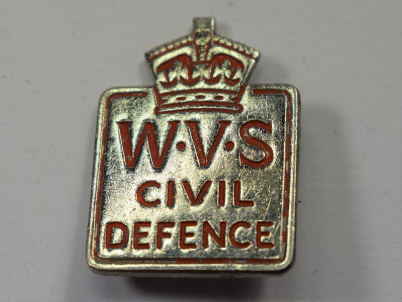 25) Good Original WW2 WVS Civil Defence Cap Badge Breast Badge