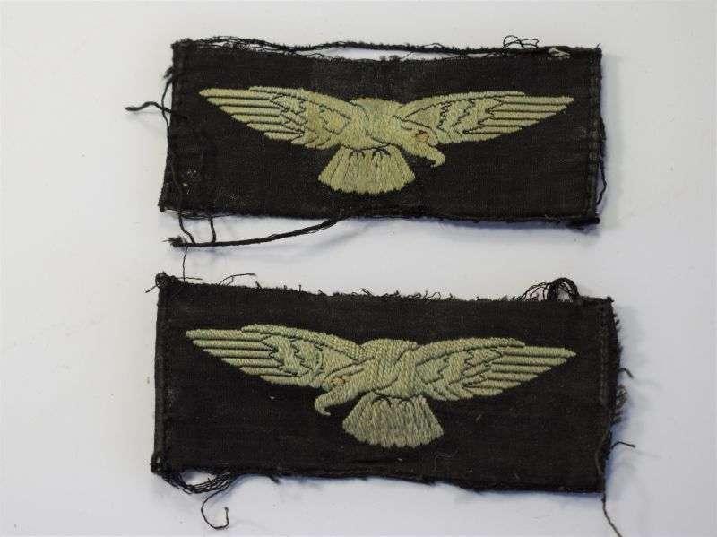 96) Original WW2 RAF Albatross Cloth Insignia Pair Uniform Removed.