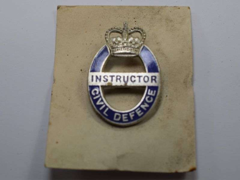 73) Unissued Cold War Civil Defence Instructors Badge on Original Card