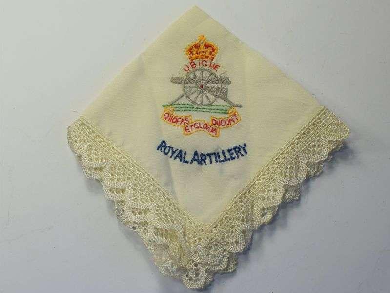 106) Excellent Clean WW1 WW2 Royal Artillery Sweetheart Hanky