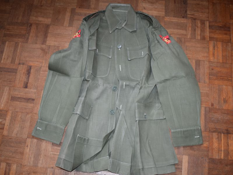 8) Excellent 1950s British Army Officers JG Bush Jacket with Hong Kong Insignia