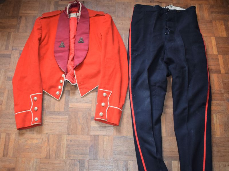 17) Early Post WW2 British Officers Mess Dress Jacket & Trousers DOW West Riding Regiment