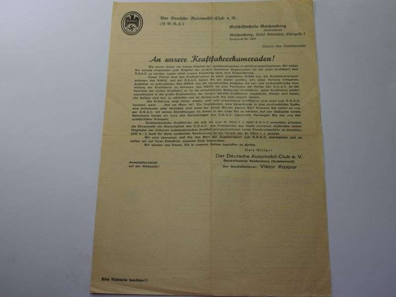 50) Original 1930s German Certificate to Join The DDAC
