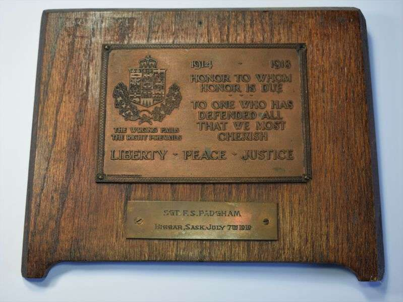 1) Interesting Original WW1 Canadian Honour Plaque Sgt F.S.Padgham