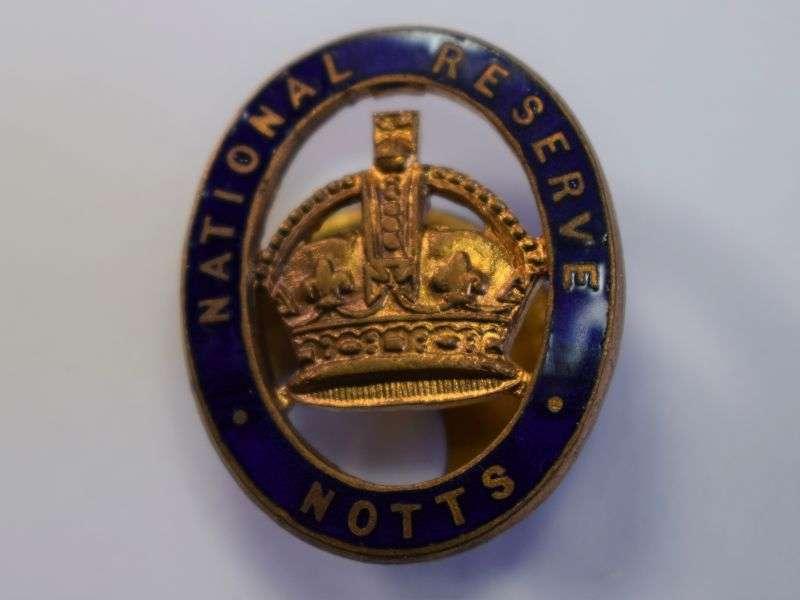 22) Excellent Original WW1 Notts National Reserve Lapel Badge