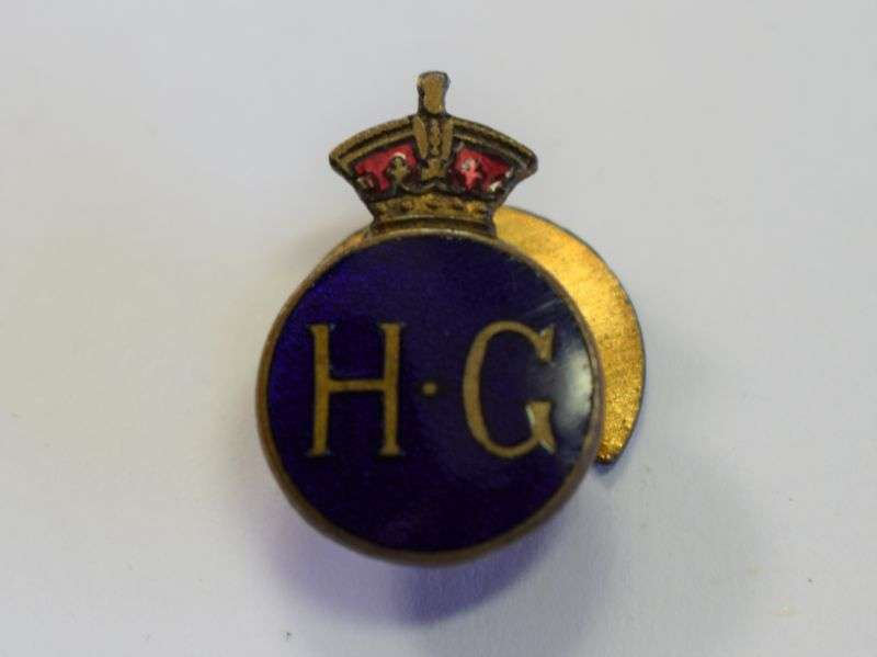 29) Excellent Original WW2 Round Home Guard Lapel Badge
