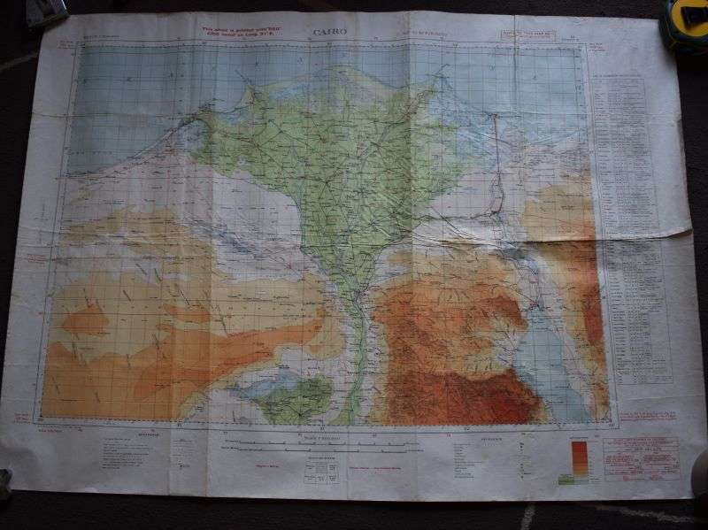 36) Original WW2 British Map North Africa Egypt, Cairo 1942