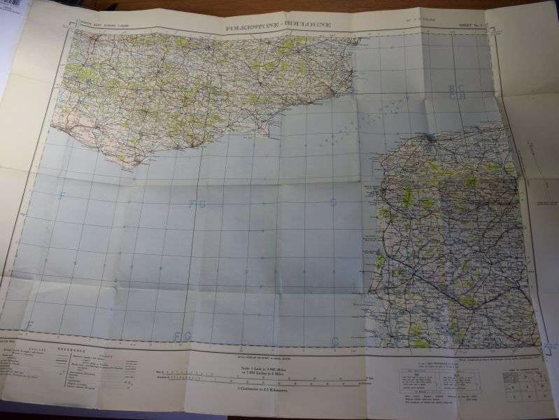 58) Original WW2 British Military Map Showing Straits of Dover 1939