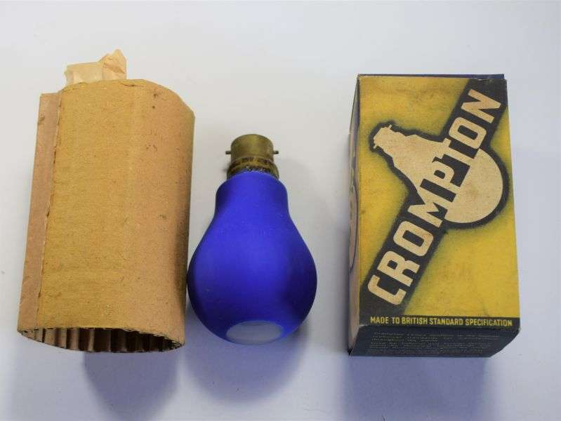 61) Original WW2 ARP Blue Black Out Light Bulb In Original Box