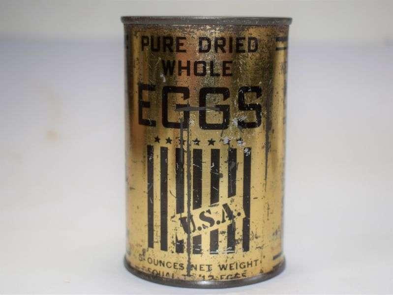4) Original Unopened WW2 US War Aid Tin of Powdered Eggs